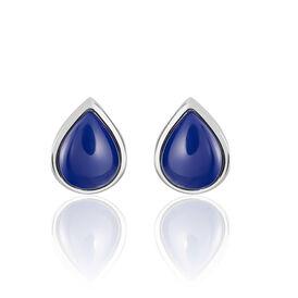 Damen Ohrstecker Silber 925 Blauer Stein - Ohrstecker  | Oro Vivo