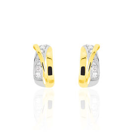 Damen Steckcreolen Gold 375 Bicolor Zirkonia -  Damen   Oro Vivo