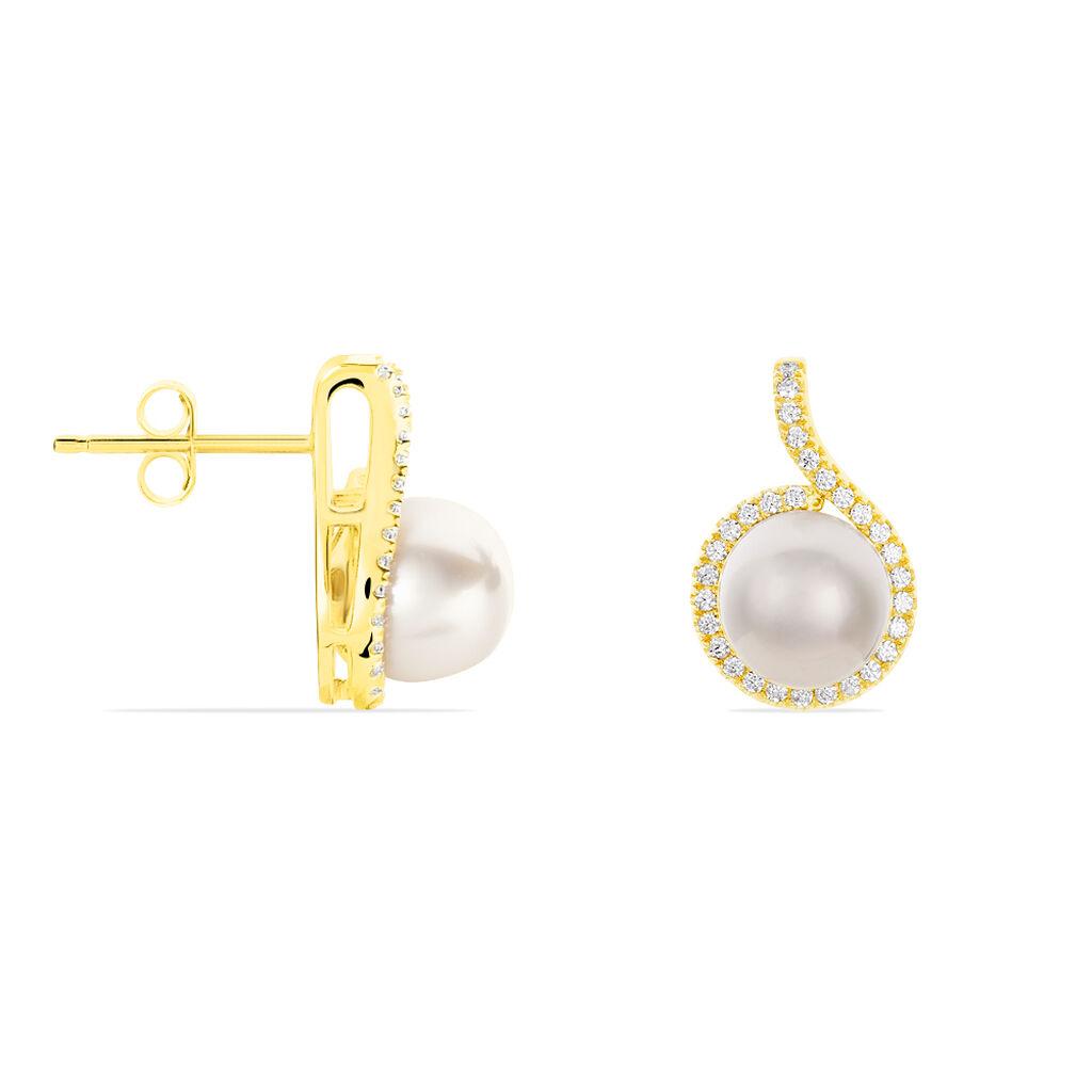 Damen Perlenohrringe Gold 375 Zuchtperle Zirkonia - Ohrringe Damen   Oro Vivo