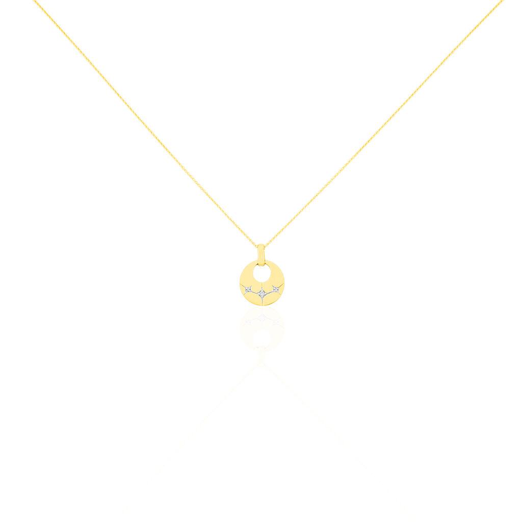 Damen Halskette Gold 375 Zirkonia Stern - Ketten mit Anhänger Damen   Oro Vivo