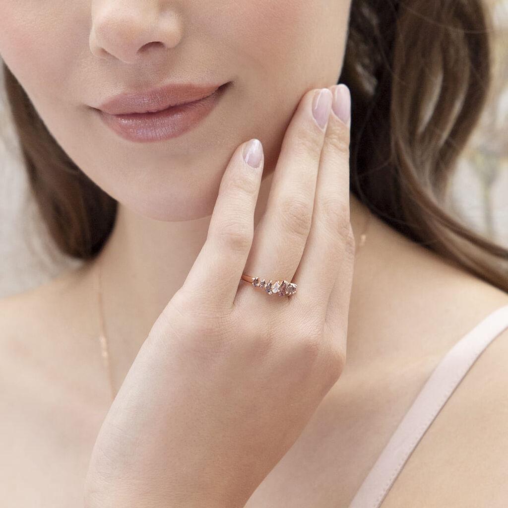 Pavéring Silber 925 Rosé Vergoldet Rosa Zirkonia - Ringe mit Stein Damen | Oro Vivo