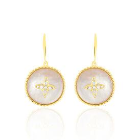 Damen Ohrhänger Gold 375 Perlmutt Zirkonia - Ohrhänger Damen | Oro Vivo