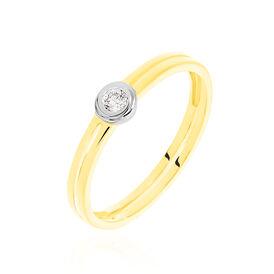 Solitärring Gold 585 Bicolor Diamant 0,07ct - Ringe mit Edelsteinen Damen | Oro Vivo
