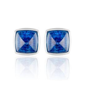 Damen Ohrstecker Silber 925 Blaues Glas Pyramid - Ohrstecker Damen   Oro Vivo
