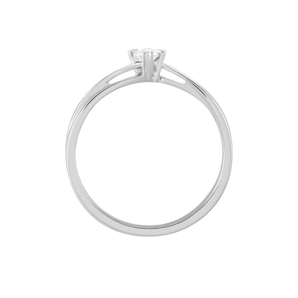 Solitärring Weißgold 750 Diamant 0,1ct Herz - Ringe mit Edelsteinen Damen   Oro Vivo