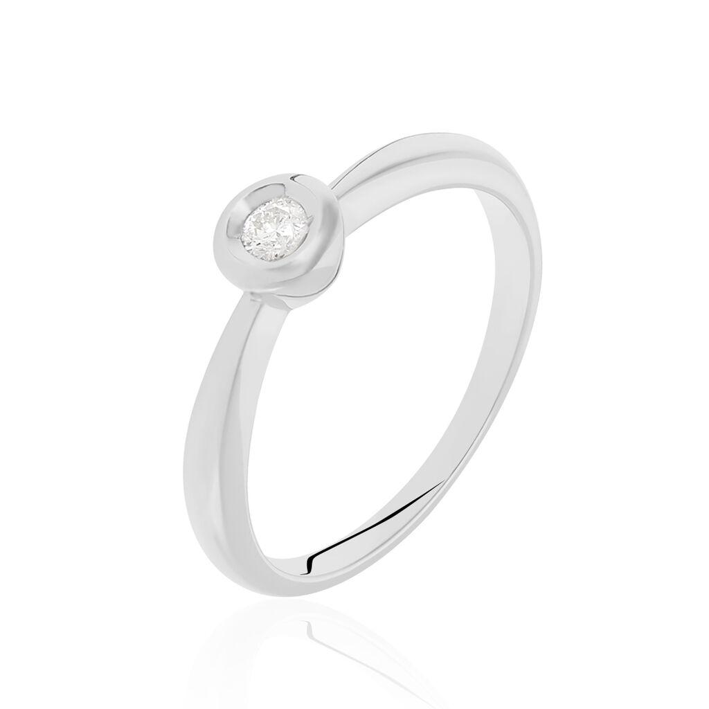 Solitärring Weißgold 585 Diamant 0,1ct - Ringe mit Edelsteinen Damen   Oro Vivo