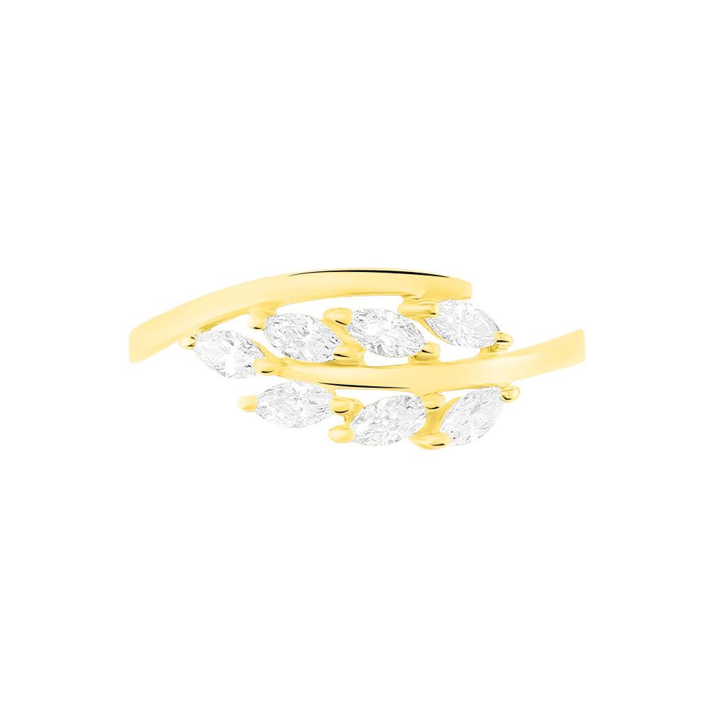 Damenring Gold 375 Zirkonia Blatt - Ringe mit Stein Damen   Oro Vivo