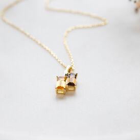 Damen Halskette Silber 925 Vergoldet Citrin Quarz - Ketten mit Anhänger Damen   Oro Vivo