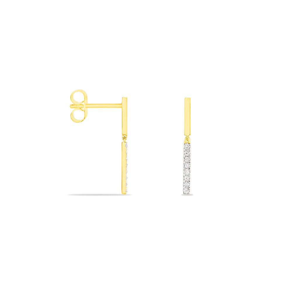 Damen Ohrstecker Lang Gold 375 Bicolor Diamant - Ohrstecker lang Damen | Oro Vivo