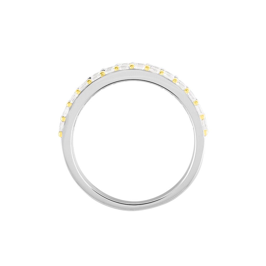 Damenring Silber 925 Tricolor Vergoldet Zirkonia - Ringe mit Stein Damen   Oro Vivo