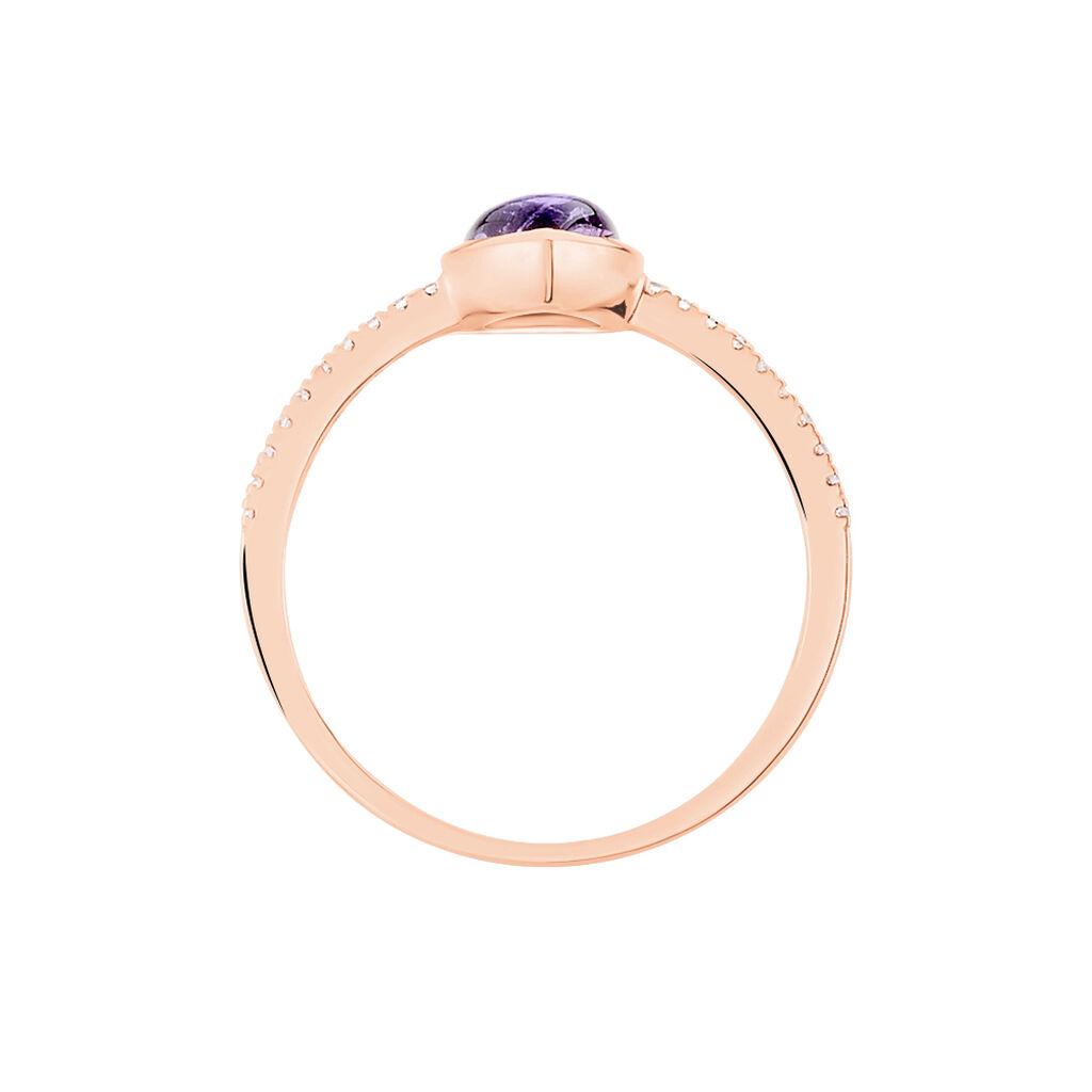 Damenring Roségold 375 Amethyst Zirkonia - Ringe mit Stein Damen   Oro Vivo