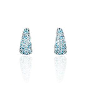 Damen Creolen Silber 925 Blauer Zirkonia - Black Friday Damen | Oro Vivo