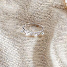 Damenring Weißgold 375 Zirkonia Süßwasser Perle - Ringe mit Stein Damen   Oro Vivo