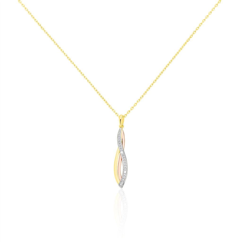 Damen Halskette Gold 375 Tricolor Diamanten 0,008ct - Ketten mit Anhänger Damen | Oro Vivo