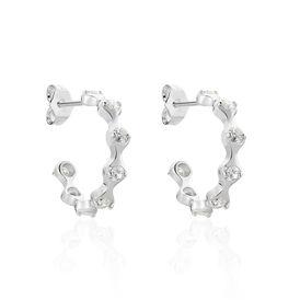 Damen Steckcreolen Silber 925 Glasstein - Creolen Damen   Oro Vivo