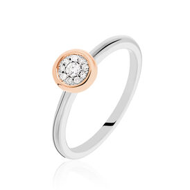 Damenring Gold 375 Bicolor Diamant 0,08ct Herz  -  Damen | Oro Vivo