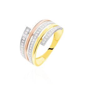 Damenring Gold 375 Tricolor Zirkonia - Ringe mit Stein  | Oro Vivo