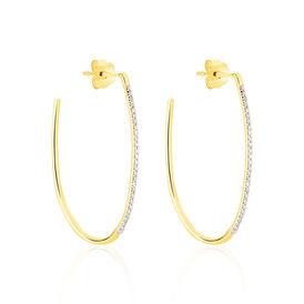 Damen Steckcreolen Gold 375 Diamanten 0,14ct  - Creolen Damen | Oro Vivo