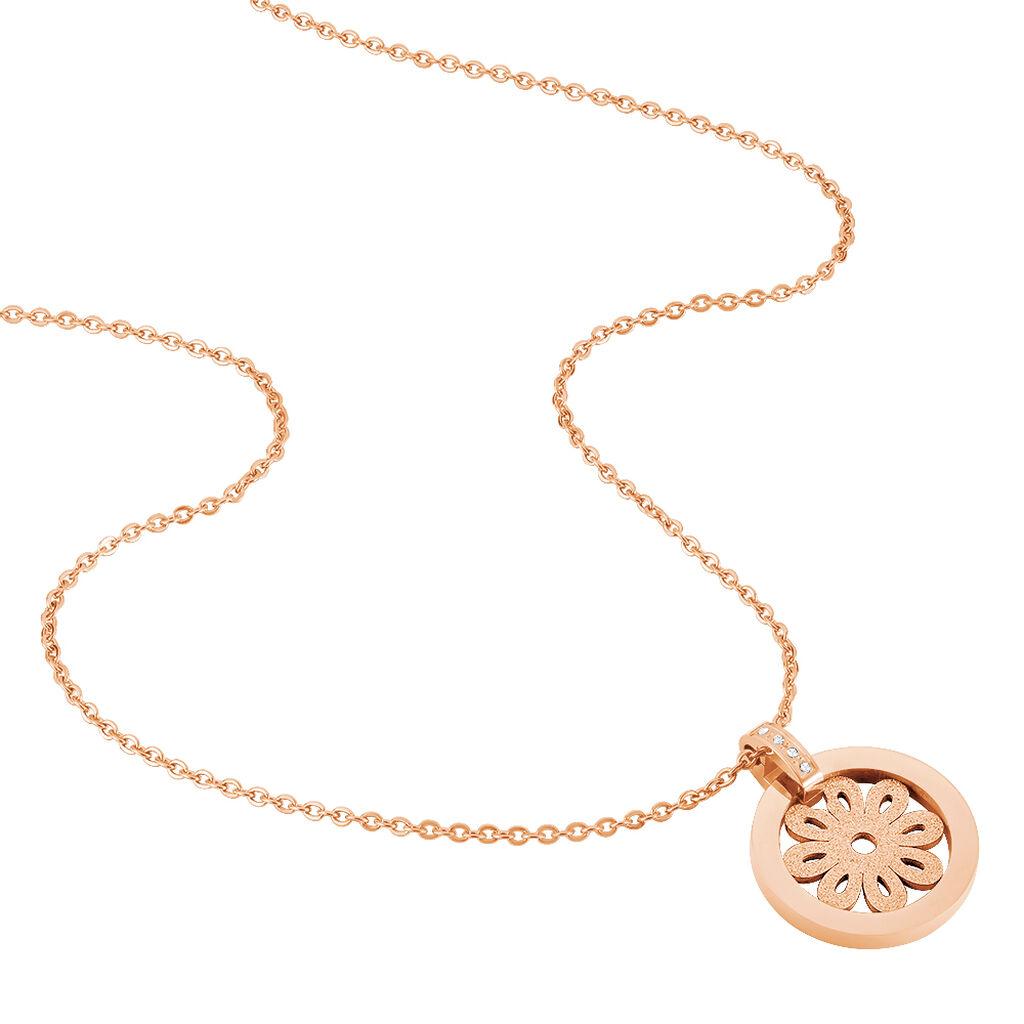 Damen Halskette Edelstahl Rosé Vergoldet Zirkonia - Ketten mit Anhänger Damen   Oro Vivo