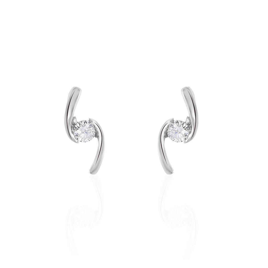 Damen Ohrstecker Weißgold 375 Diamant 0,16ct  - Ohrstecker Damen | Oro Vivo