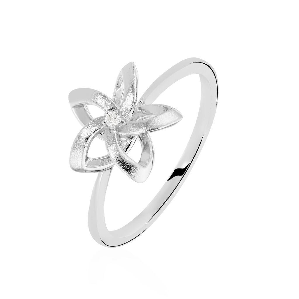Damenring Silber 925 Diamant 0,011ct Blume - Ringe mit Edelsteinen Damen   Oro Vivo