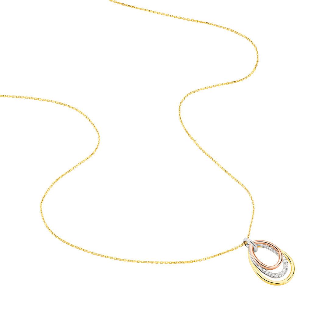 Damen Halskette Gold 375 Tricolor Zirkonia - Ketten mit Anhänger Damen | Oro Vivo