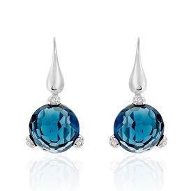 Damen Ohrhänger Lang Silber 925 Blauer Zirkonia  - Schmuck  | Oro Vivo