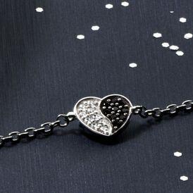 Damenarmband Silber 925 Zirkonia Herz - Armbänder    Oro Vivo