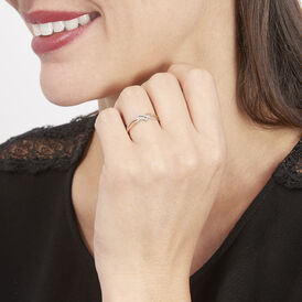 Damenring Gold 375 Bicolor Diamant 0,005ct - Ringe mit Edelsteinen Damen   Oro Vivo