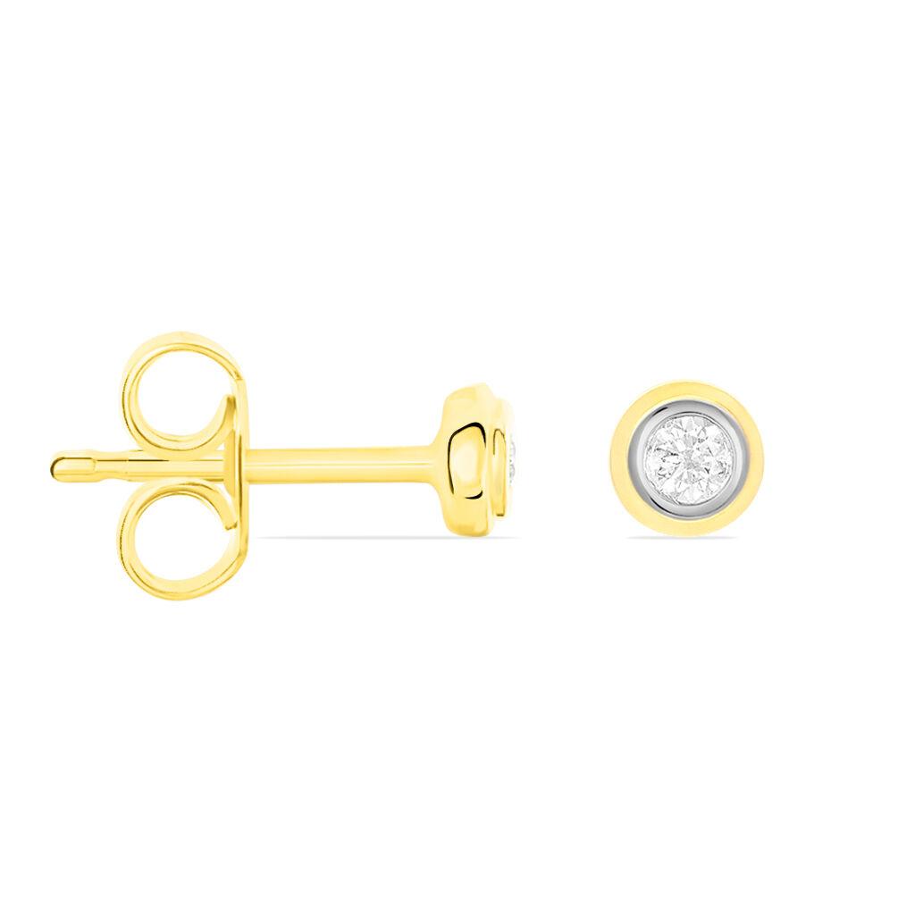 Damen Ohrstecker Gold 585 Bicolor Diamant 0,08ct - Ohrstecker Damen | Oro Vivo
