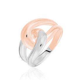Damenring Silber 925 Bicolor Rosé Vergoldet - Ringe Damen   Oro Vivo