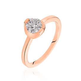 Damenring Roségold 750 Diamanten 0,17ct - Black Friday Damen | Oro Vivo