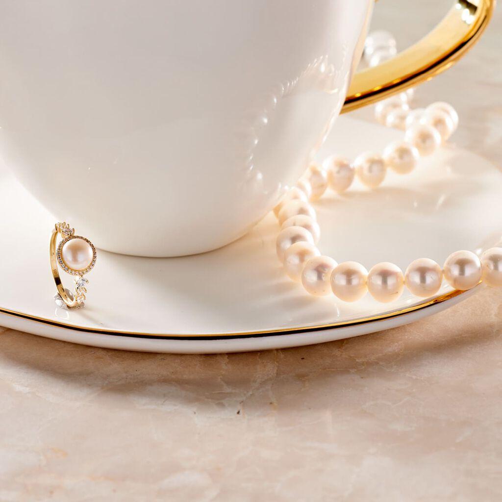 Damen Collier Silber 925 Zuchtperlen 9-10mm - Ketten mit Stein Damen   Oro Vivo