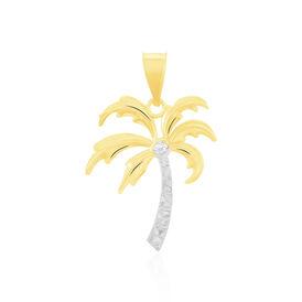 Anhänger Gold 375 Bicolor Diamant 0,003ct Palme - Schmuckanhänger Damen | Oro Vivo
