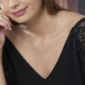 Damen Ankerkette Weißgold 375 Diamantiert 40cm - Ketten ohne Anhänger Damen | Oro Vivo