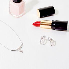 Damen Halskette Weißgold 375 Zirkonia - Ketten mit Anhänger  | Oro Vivo