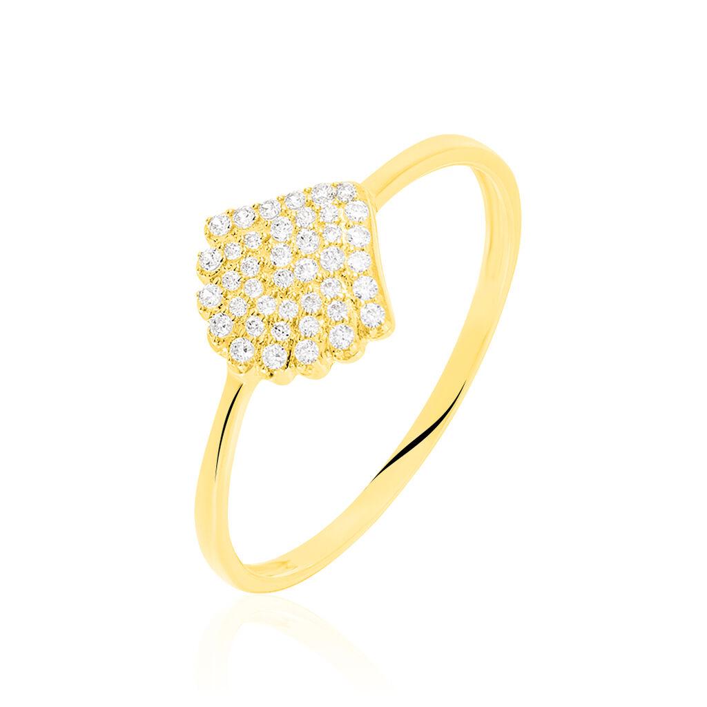 Damenring Gold 375 Zirkonia Muschel - Ringe mit Stein Damen | Oro Vivo