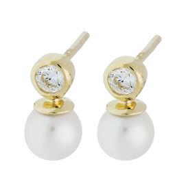 Damen Perlenohrringe Gold 375 Zuchtperle Zirkonia -  Damen | Oro Vivo