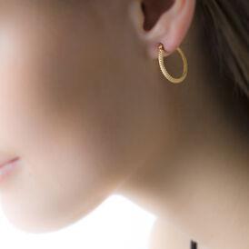 Damen Creolen Gold 375 Diamantiert 15mm - Creolen  | Oro Vivo