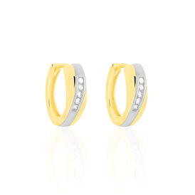 Damen Creolen Gold 333 Bicolor Diamant 0,1ct  - Creolen Damen | Oro Vivo