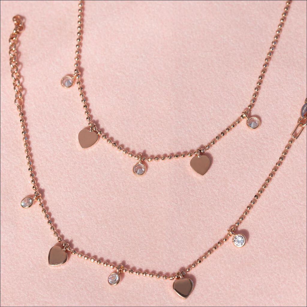 Kinder Halskette Silber 925 Rosé Vergoldet Herz - Herzketten Kinder   Oro Vivo