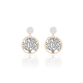 Damen Ohrstecker Lang Edelstahl Bicolor Lebensbaum - Ohrringe Damen | Oro Vivo