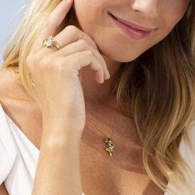 Damen Halskette Gold 375 Peridot Topas Zirkonia - Ketten mit Anhänger    Oro Vivo