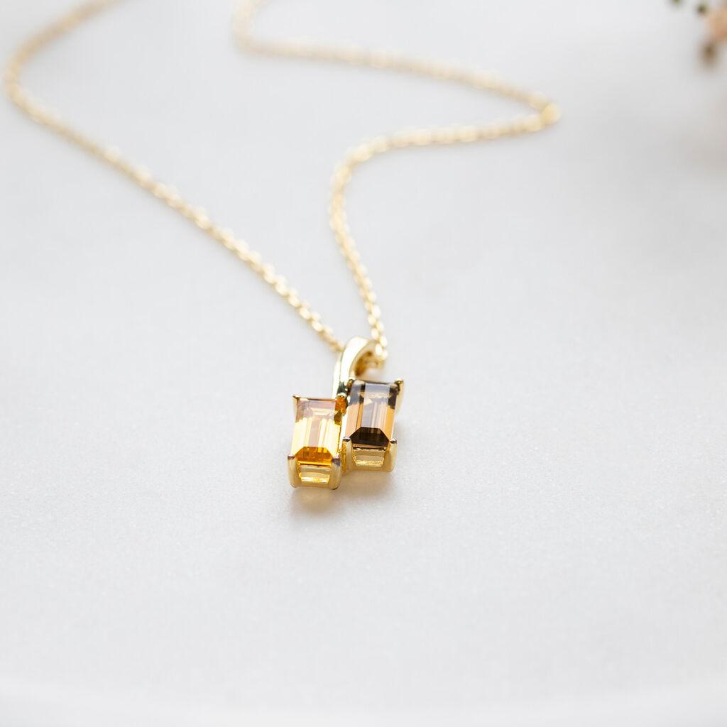 Damen Halskette Silber 925 Vergoldet Citrin Quarz - Ketten mit Anhänger Damen | Oro Vivo