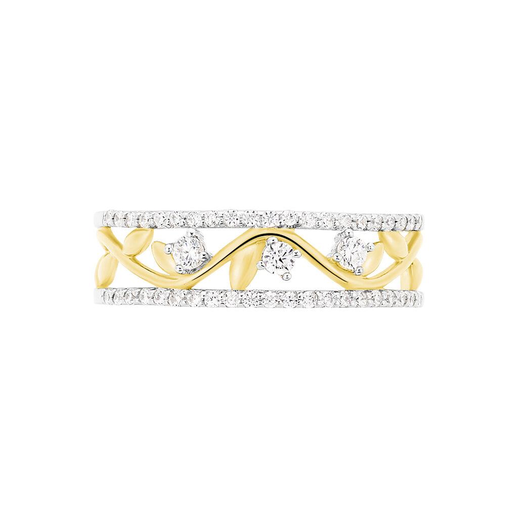 Damenring Silber 925 Bicolor Vergoldet Zirkonia  - Ringe mit Stein Damen   Oro Vivo