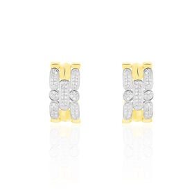 Damen Ohrstecker Gold 375 Bicolor Diamant 0,142ct  - Creolen Damen | Oro Vivo