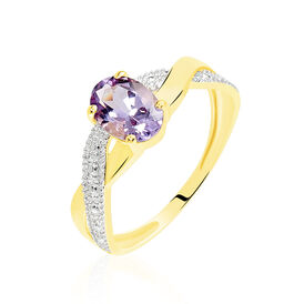 Damenring Gold 375 Amethyst Diamantiert -  Damen | Oro Vivo