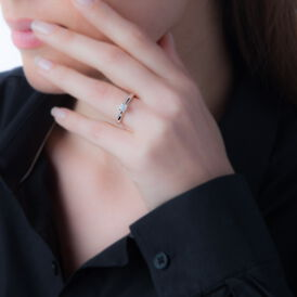 Solitärring Weißgold 375 Diamant 0,07ct - Ringe mit Edelsteinen Damen | Oro Vivo