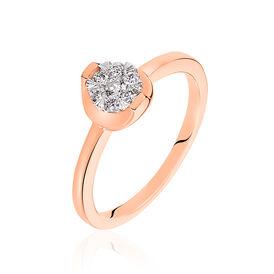 Damenring Roségold 750 Diamanten 0,17ct - Ringe mit Edelsteinen Damen   Oro Vivo