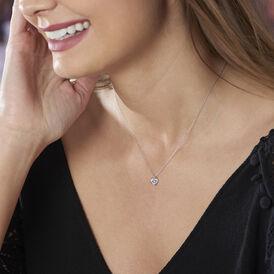 Damen Halskette Weißgold 375 Zirkonia Herz - Herzketten Damen | Oro Vivo
